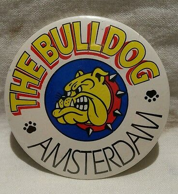 Genuine vintage pin badge The Bulldog coffee shop Amsterdam