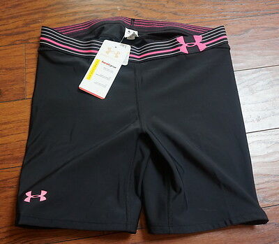 NWT Under Armour Softball Heat Gear Padded Compressions Shorts Size L Black Pink