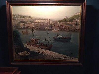 Oil On Canvas Fishing Boats In Cornwall, Signed D.Stone