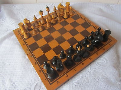 Vintage Soviet Rare Russian Wooden Chess with board