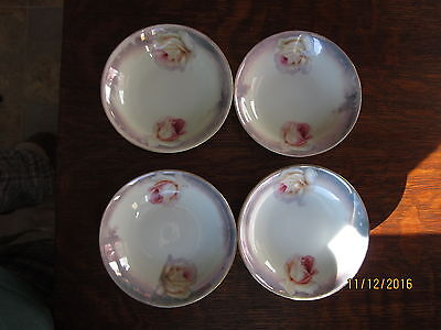 Vintage Germany Berry Bowls Roses w/Purple Luster Set of 4