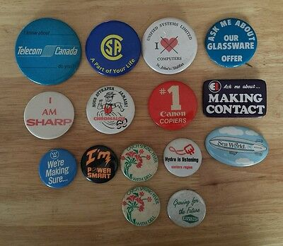 Lot of 15 Vintage Pin Buttons
