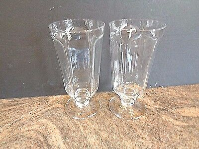 Lenox Antique pattern Clear Crystal pair Glasses Ice Tea or Water