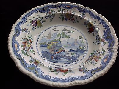 c 1845 Antique MINTON CHINESE MARINE Opaque China Soup Plate