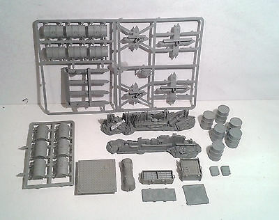 Warhammer 40K Scenery- Assorted Tank Traps, Baracades and Supplies. OOP