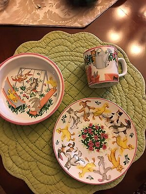 """Tiffany & Co. 3-Piece Child's China Set  """"Tiffany Playground"""" Bowl, Plate, Cup"""