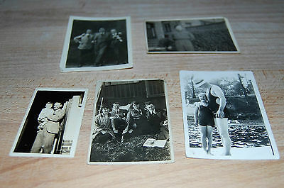 5 Small Old Vintage Black & White Photographs Family Swimming