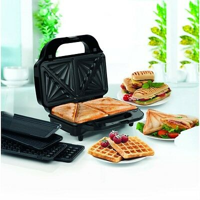 Salter 3-in-1 Deep Fill Sandwich and Waffle Maker Non-stick coated plates New