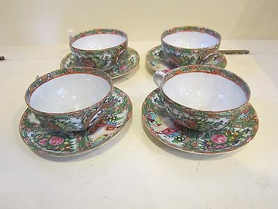 Rose Medallion 4 Tea Cups Saucers Marked China