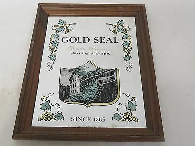 "Gold Seal Fournier Signature Wine Store Display 18"" x 14"" Sign Mirror New York"