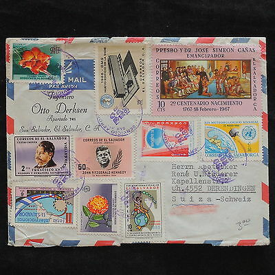 ZS-X068 EL SALVADOR - Cover, 1968, Airmail To Switzerland