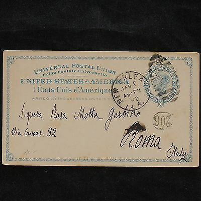 ZS-X092 US COVERS - Entire, 1892, Great Franking To Rome, Italy Postcard