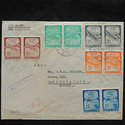 ZS-X191 INDONESIA - Aviation, Block Of 2, 1958 Airmail To Netherlands Cover