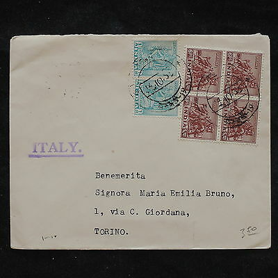 ZS-X204 INDIA IND - Block Of 4, 1955, To Italy Cover