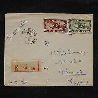 ZS-X205 INDOCHINA - Aviation, 1937, Registered To Egypt Cover