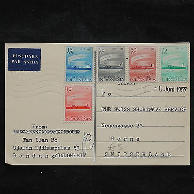 ZS-X206 INDONESIA - Airmail, 1957, Anniv. Telegraph, To Switzerland Postcard