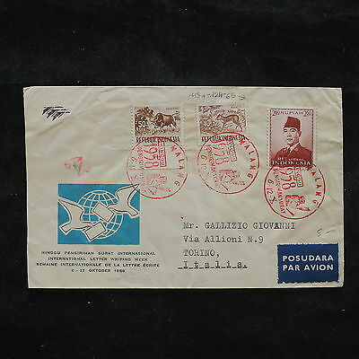 ZS-X209 INDONESIA - Fdc, 1958 International Letter Writing Week, To Italy Cover