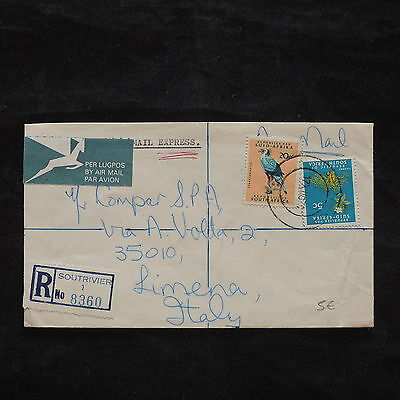 ZS-X253 SOUTH AFRICA IND - Birds, 1974, Registered, Airmail To Italy Cover