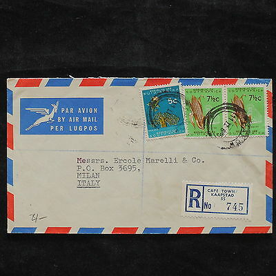ZS-X257 SOUTH AFRICA IND - Airmail, Registered To Italy, Great Franking Cover