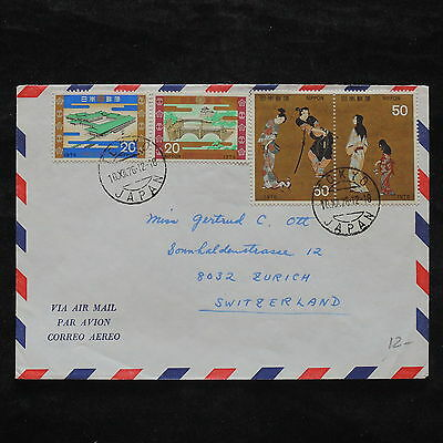 ZS-X281 JAPAN - Costumes, 1976, Airmail To Switzerland, Buildings Cover