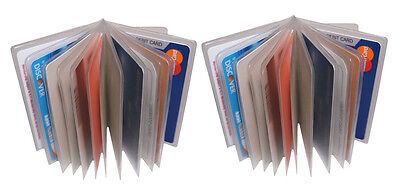 WALLET INSERT SET OF 2 Clear & Plastic 12 PAGES CARD PICTURE HOLDER TRIFOLD