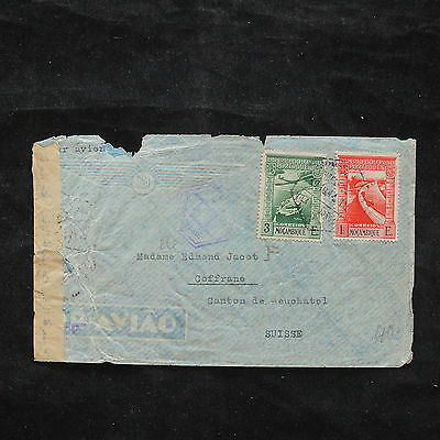 ZS-X381 MOZAMBIQUE IND - Portugal, Censored, 1944, Airmail To Switzerland Cover
