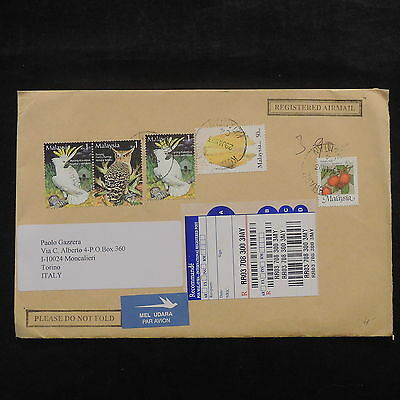 ZS-X421 MALAYSIA - Birds, 2003 Registered Airmail To Italy Cover