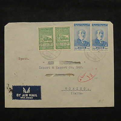 ZS-X499 SYRIA IND - Stamp Tax, Airmail To Italy Cover
