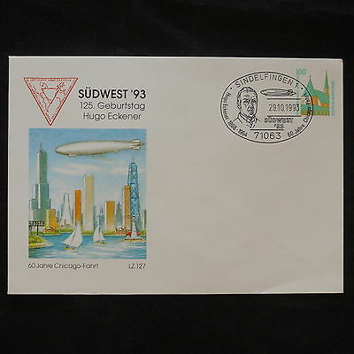 ZS-X561 ZEPPELIN - Germany, Fdc Sudwest 1993 Entire 60 Years Chicago-Fahrt Cover