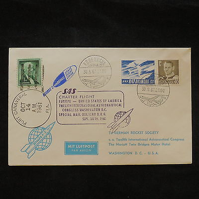 ZS-X618 DENMARK - Rocket, 1961 Sas Charter Flight, Astronautical Congress Cover