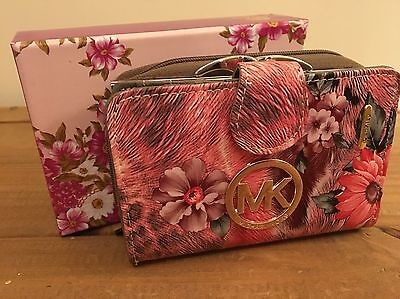 Brand New Ladies Pink Floral Leather Purse