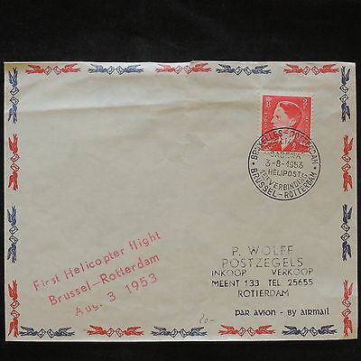 ZS-X662 HELICOPTERS - Belgium, 1St Flight Bruxelles-Rotterdam 1953 Cover