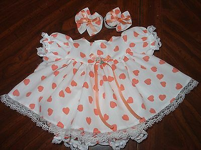 Fits 14'' Cabbage patch Doll Clothes White with coral hearts