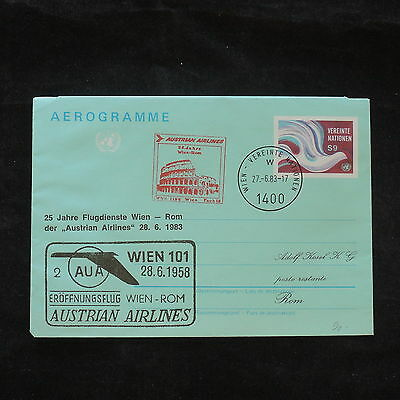 ZS-X717 UNITED NATIONS - Entire, 1983 25 Years Austrian Airlines Wien-Rome Cover