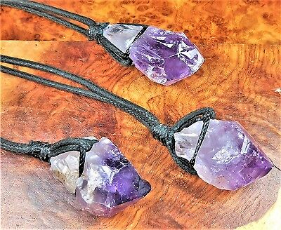 Raw Amethyst Necklace Black Cord Point Pendant LR5 Healing Crystals And Stones