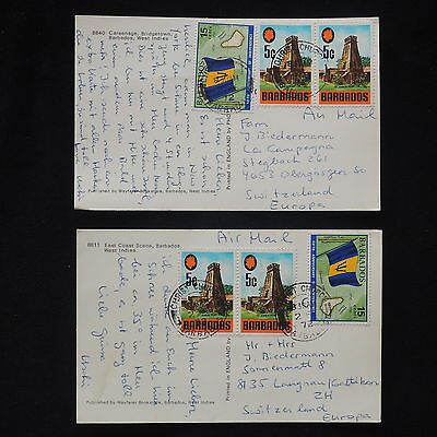 ZS-X994 BARBADOS IND - Monuments, 1972 Airmail To Switzerland Lot Of 2 Postcards