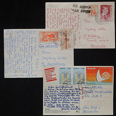ZS-X995 BRAZIL - Airmail, 1982, Great Franking To Germany, Lot Of 3 Postcards