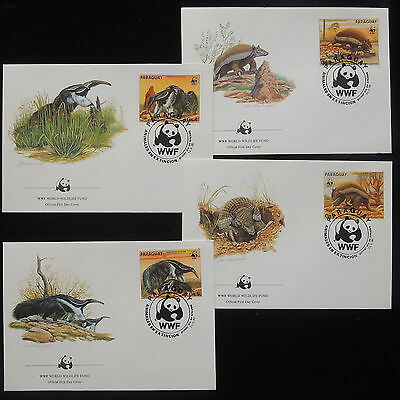 ZS-Y382 WWF - Paraguay, 1985, Fdc, Wild Animals, Lot Of 4 Covers