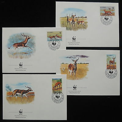 ZS-Y390 WWF - Zambia, 1987, Fdc, Great Lot Of 4 Covers