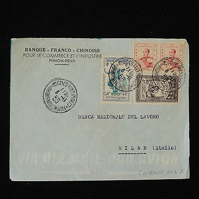 ZS-Y438 CAMBODIA - Cover, 1956, Airmail To Milan, Italy
