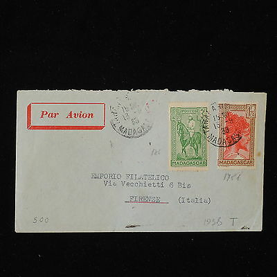 ZS-Y441 MADAGASCAR IND - Airmail, 1938, Great Franking To Italy Cover