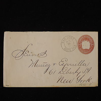 ZS-Y494 COSTA RICA - Entire, 1892, Stationery, To New York Cover