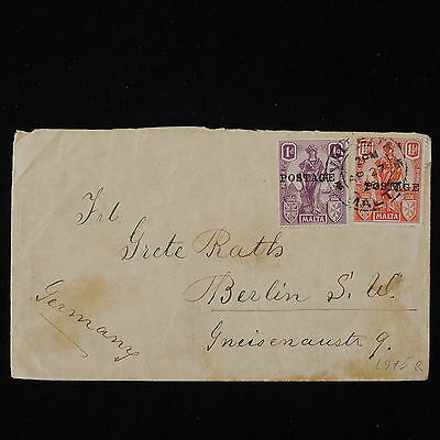 ZS-Y506 MALTA IND - Coats Of Arms, 1915, Great Franking To Germany Cover