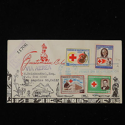 ZS-Y599 RED CROSS - Guatemala, 1958, Fdc, Registered, Airmail To Usa Cover