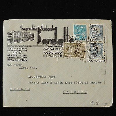 ZS-Y608 BRAZIL - Cover, 1948, Great Franking To Italy