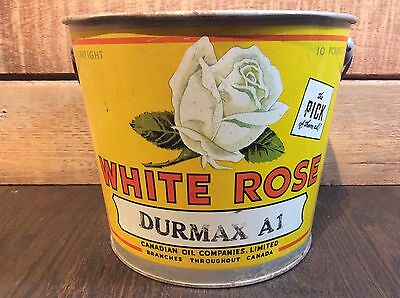 White Rose Durmax 10lb Grease Bucket w/ Orig Bail Wire - Canadian Oil Companies