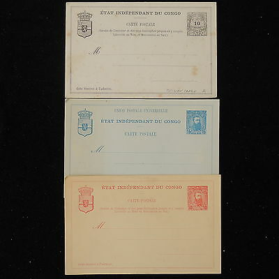 ZS-Y768 BELGIAN CONGO - Entire, Mint, Great Franking, Lot Of 3 Postcards