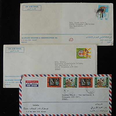 ZS-Y778 KUWAIT IND - Covers, Great Franking Airmail To Italy, Lot Of 3