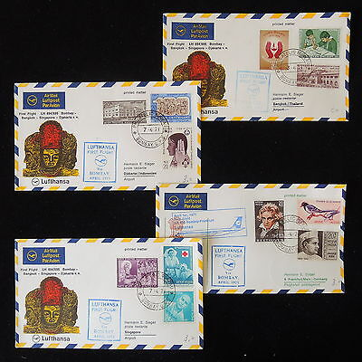 ZS-Y786 INDIA IND - Lufthansa, 1971 Ffc, Flight Bombay-Djakarta, Lot Of 4 Covers