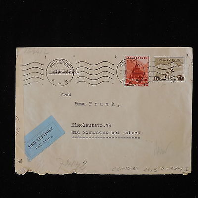 ZS-Y863 NORWAY - Censored, 1943, Airmail To Germany Cover